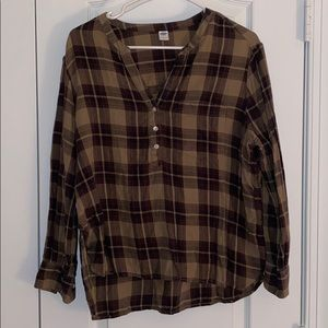 Old Navy Green and Black Flannel Long Sleeve